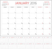 Calendar Planner 2016. Vector Design Template. Set of 12 Months. Week Starts Monday