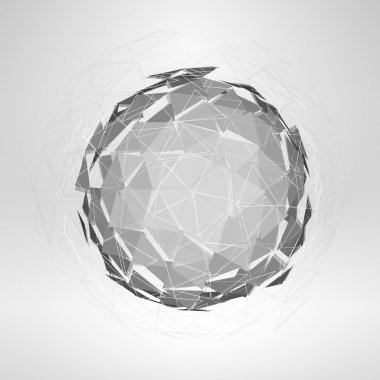 Wireframe polygonal element. Explosion of 3D Sphere