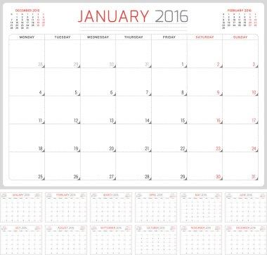 Calendar Planner 2016. Vector Design Template. Set of 12 Months. Week Starts Monday