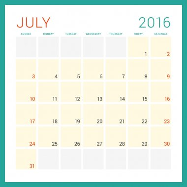 Calendar 2016. Vector Flat Design Template. July. Week Starts Sunday