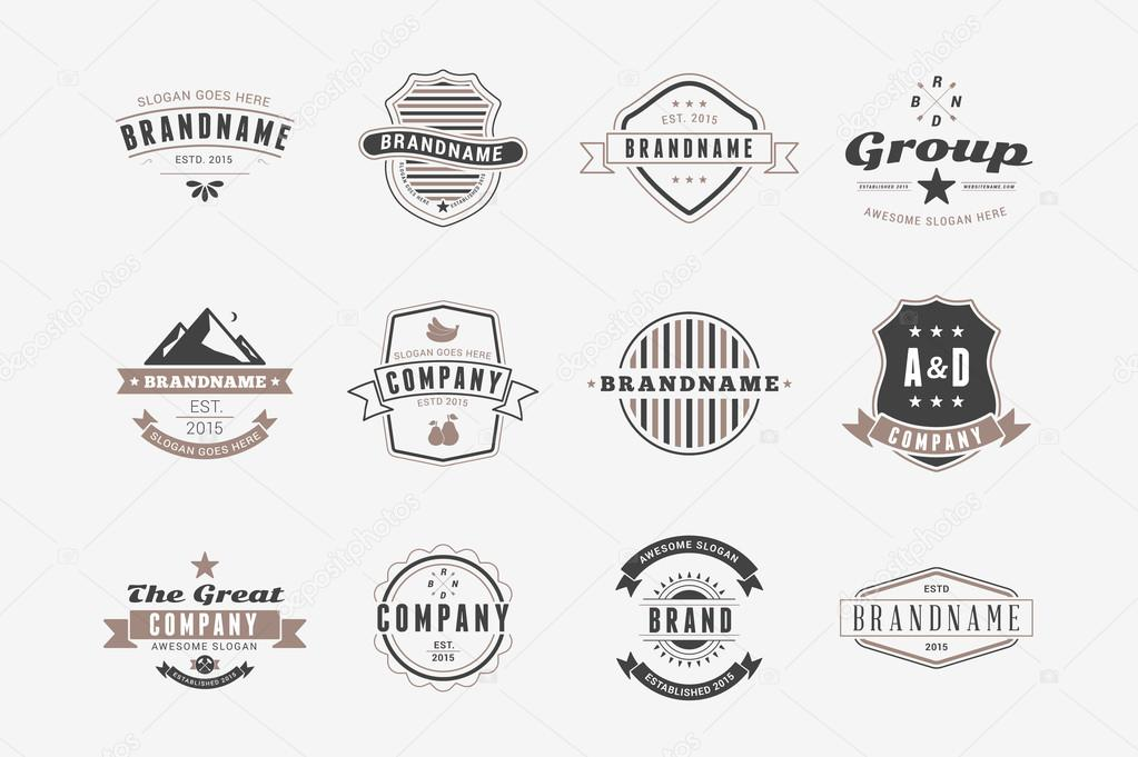 Satz von Hipster Jahrgang Bezeichnungen, Logos, Abzeichen. Dünne ...