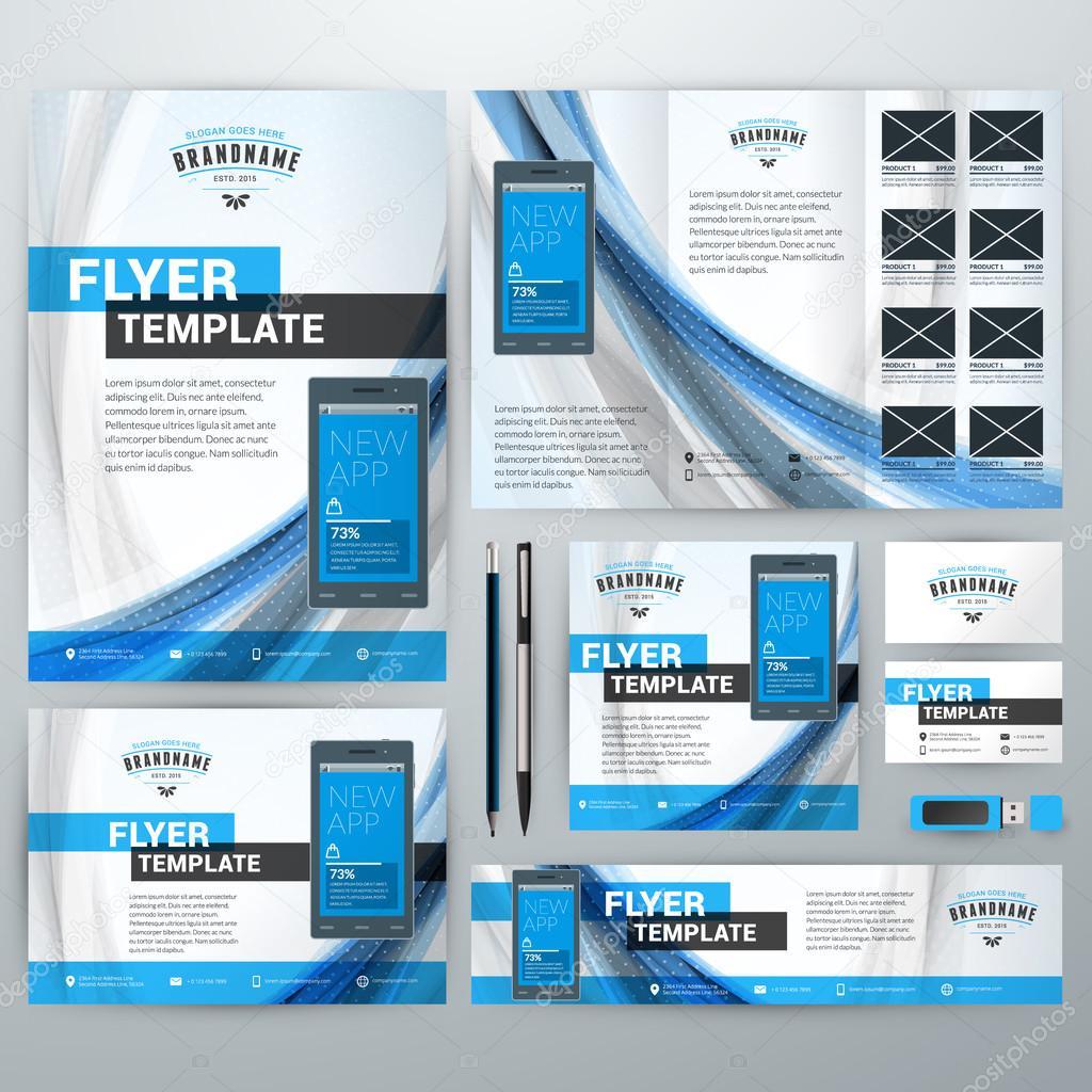 set of stationery design templates flyer booklet leaflet