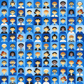 Flat Design Vector Background. Different People Character, Female, Male. Shades of Blue