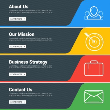 Flat Design Concept. Set of Vector Web Banners. Template for Wesite Headers. About us, Our Mission, Business Strategy, Contact us