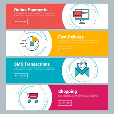 Flat Design Concept. Set of Vector Web Banners. Online Payments, Fast Delivery, SMS Transactions, Shopping