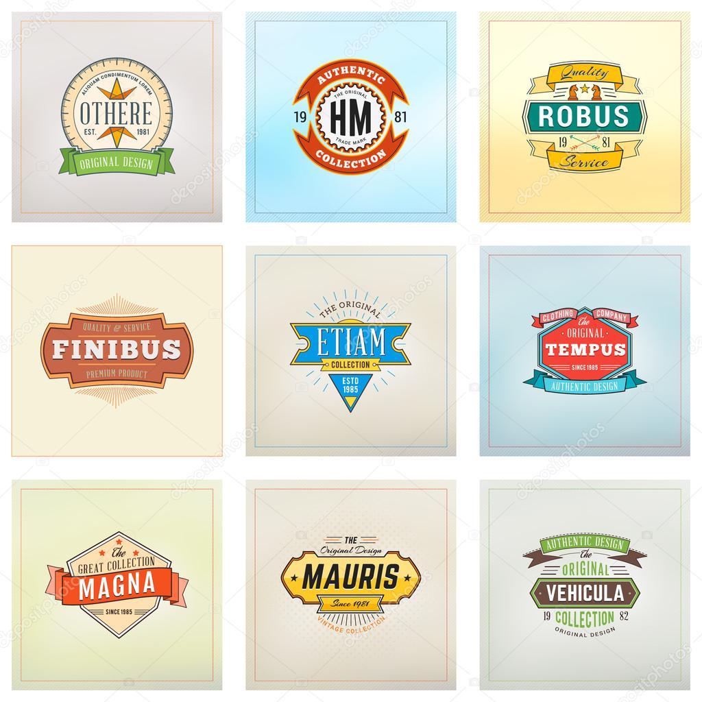 Set von Hipster Retro Abzeichen, Etiketten, Logos. Vektor-Design ...
