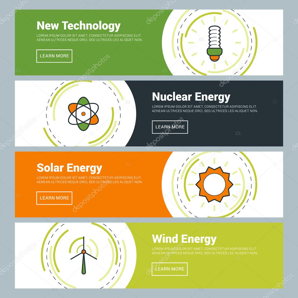 Flat Design Concept. Set of Vector Web Banners. New Technology, Nuclear Energy, Solar Energy, Wind Energy