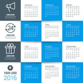 Vector Calendar Template. Calendar 2016. Week Starts Monday