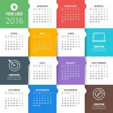 Vector Calendar Template. Calendar 2016. Week Starts Monday