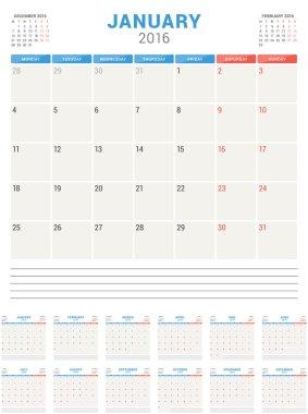 Calendar Planner 2016. Vector Flat Design Template. Set of 12 Months. Week Starts Monday