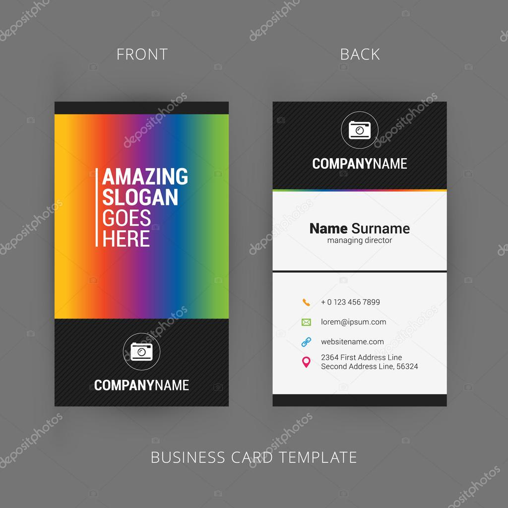 Vector modern creative and clean business card template with rainbow vector modern creative and clean business card template with rainbow element vetor de stock reheart Images