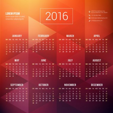 Vector Calendar Template. Calendar 2016. Week Starts Sunday