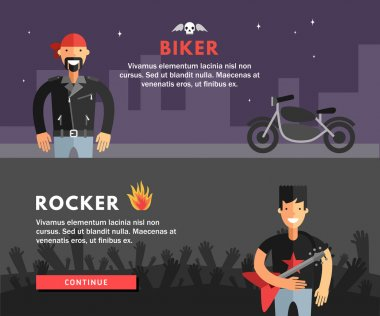 Profession Concept. Biker and Rocker. Flat Design Concepts for Web Banners and Promotional Materials