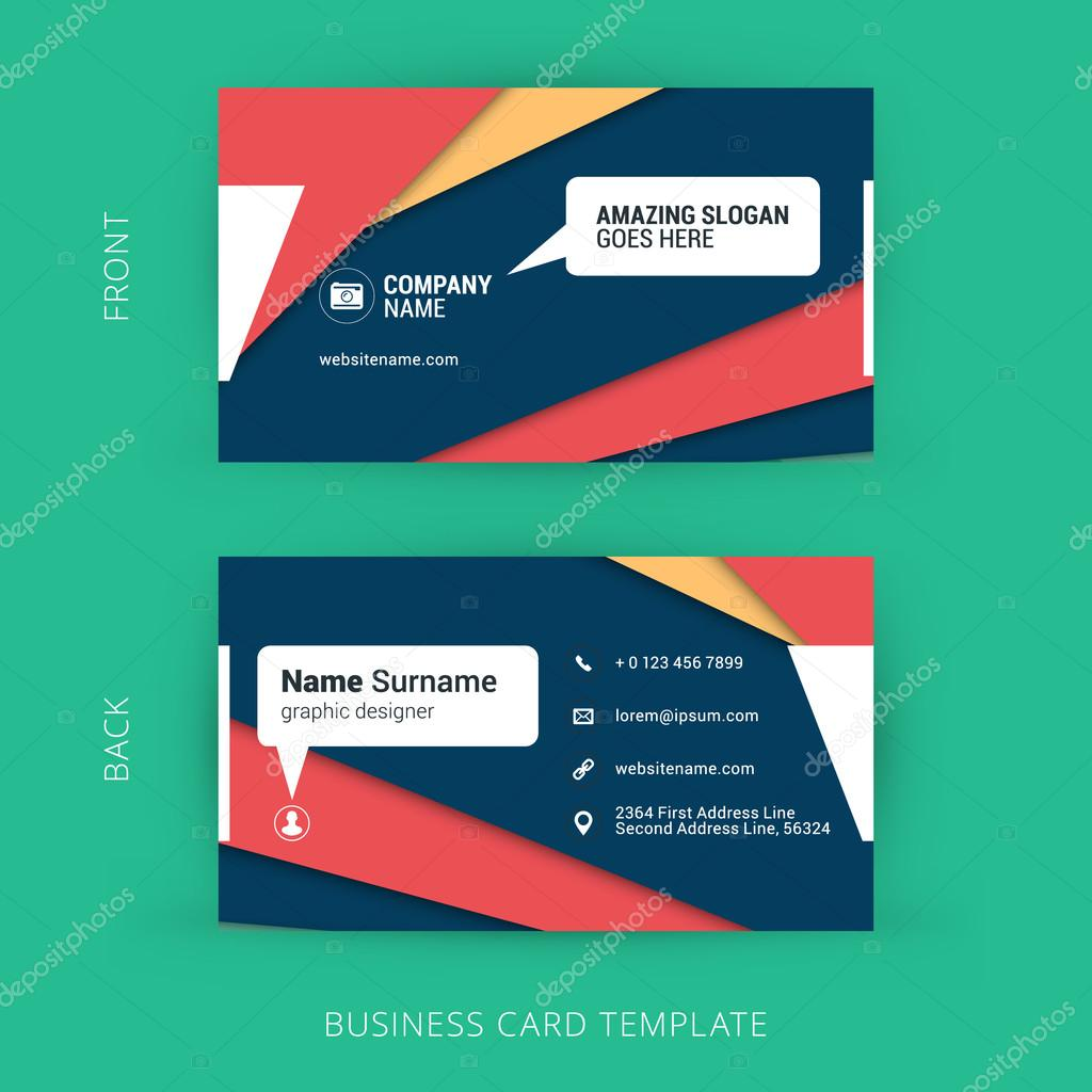 Creative and clean business card template with material design creative and clean business card template with material design abstract colorful background vetor de stock reheart Images