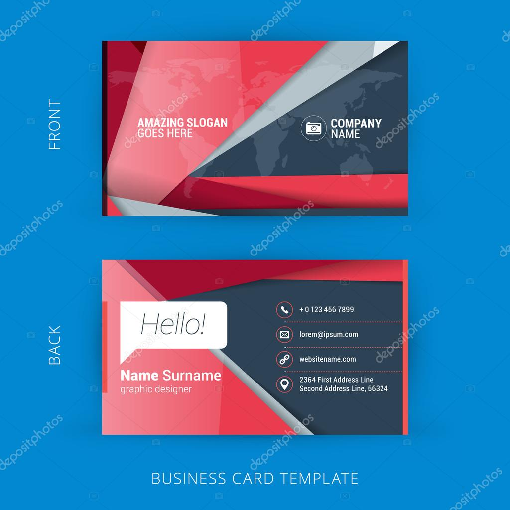 Kreative Und Saubere Visitenkarte Mit Material Design Zusammenfassung Bunten Hintergrund Stockvektor