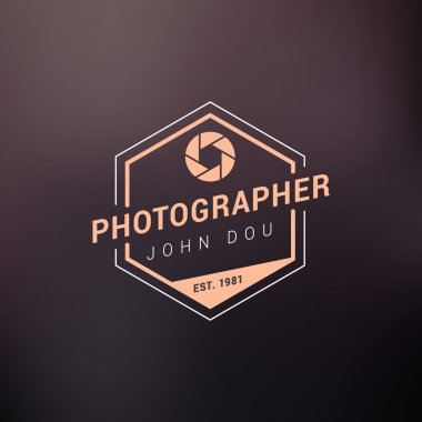 Vector Photography Logo Design Template. Retro Badge or Label.  Photographer