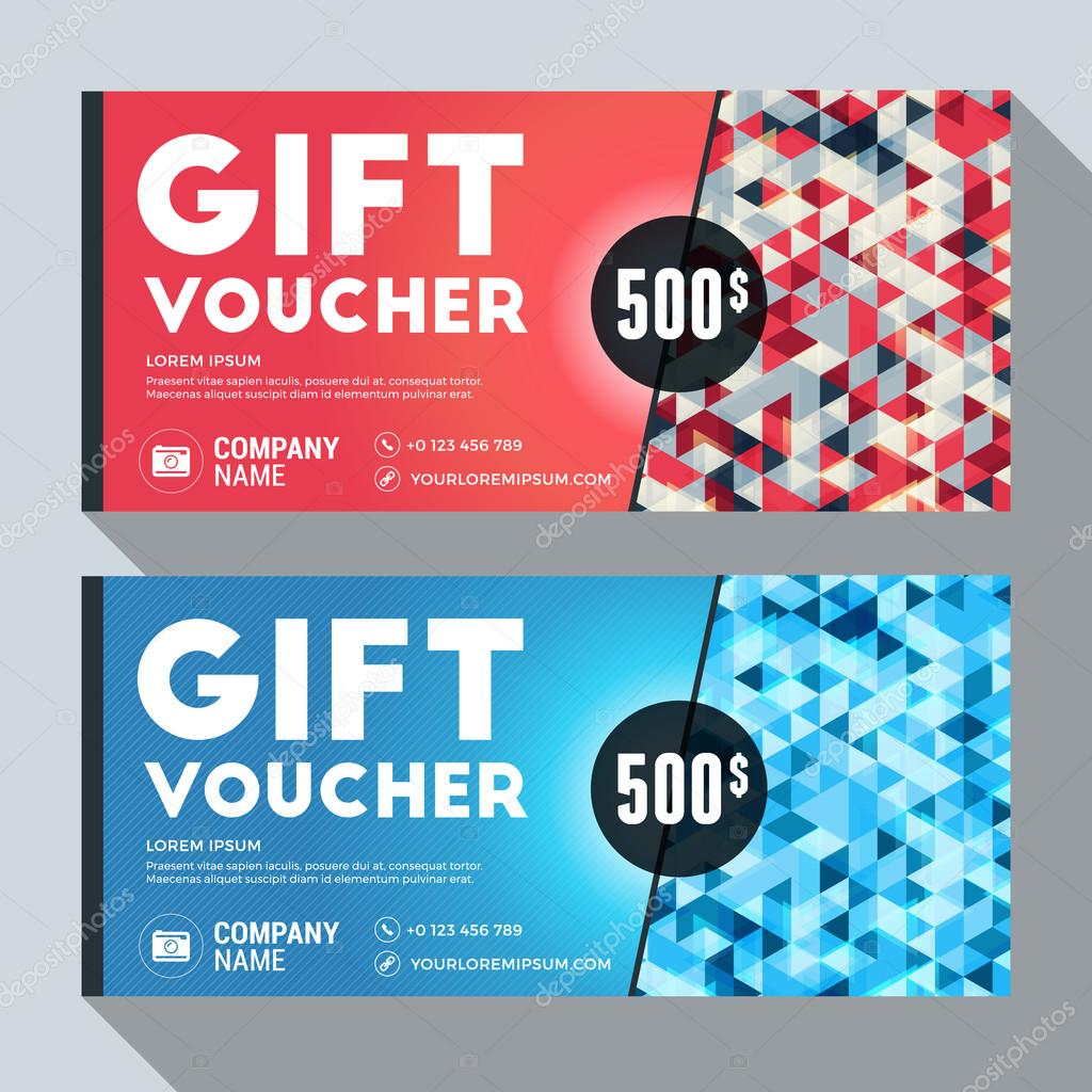 Design of discount card - Gift Voucher Vector Design Print Template Discount Card Gift Certificate 2 Color Themes