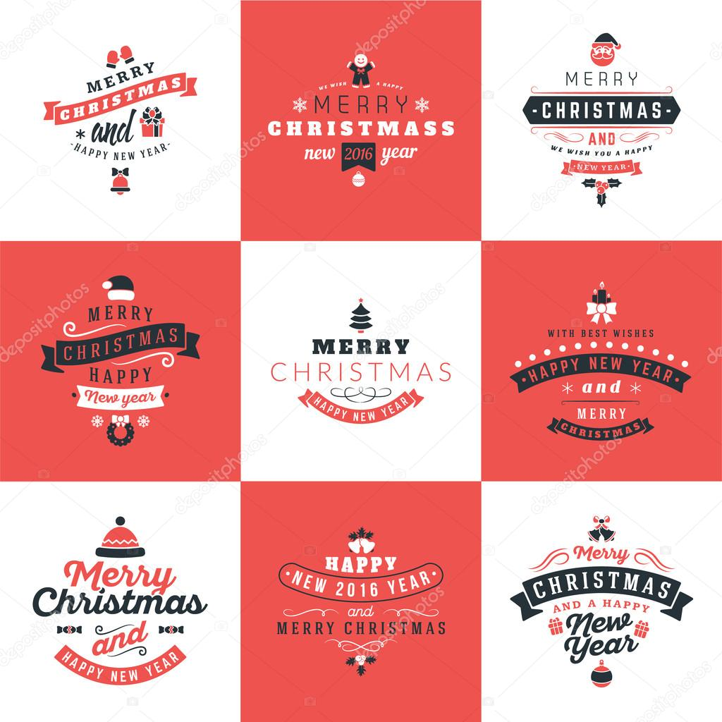 Satz von Retro Vintage typografische Frohe Weihnachten und guten ...