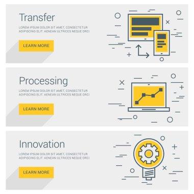 Transfer Data. Processing. Innovation. Line Art Flat Design Illustration. Vector Web Banners Concepts