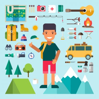 Set of Vector Icons and Illustrations in Flat Design Style. Male Cartoon Character Traveler Surrounded by Tourist Equipment
