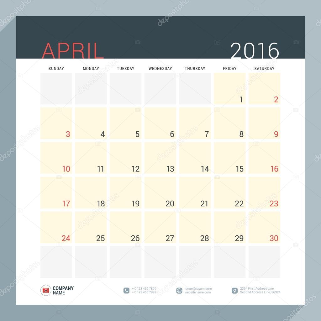 20d6c7ba Календарь-Планировщик на 2016 год. Вектор канцелярские дизайн печати  шаблон. Квадратный страниц с местом для заметок. Неделя начинается  воскресенье.