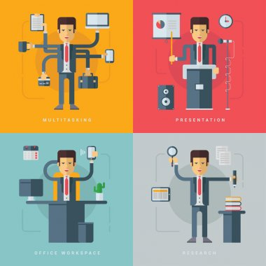 Set of Vector Flat Conceptual Illustrations of Businessman. Multitasking, Presentation, Office Workspace, Research