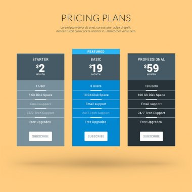 Vector Design Template for Pricing Table in Flat Design Style for Websites and Applications