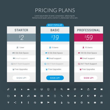 Vector Design Template for Pricing Table with Icon Set in Flat Design Style for Websites and Applications