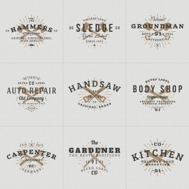 Set of Hipster Vintage Labels, Logotypes, Badges for Your Business. Knife, Axe, Hammer, Wrench. Vector Illustration