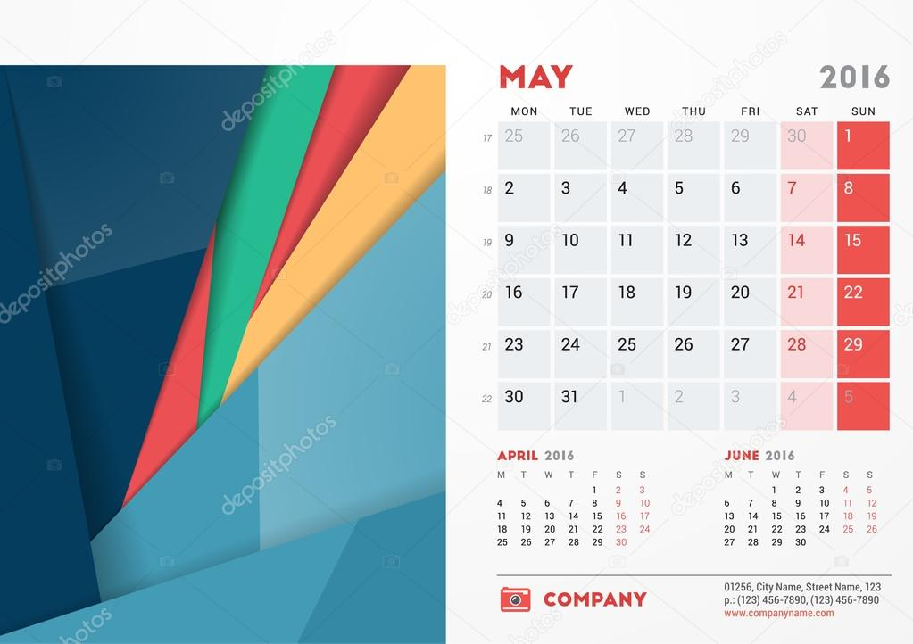 May 2016. Desk Calendar for 2016 Year. Vector Stationery Design ...