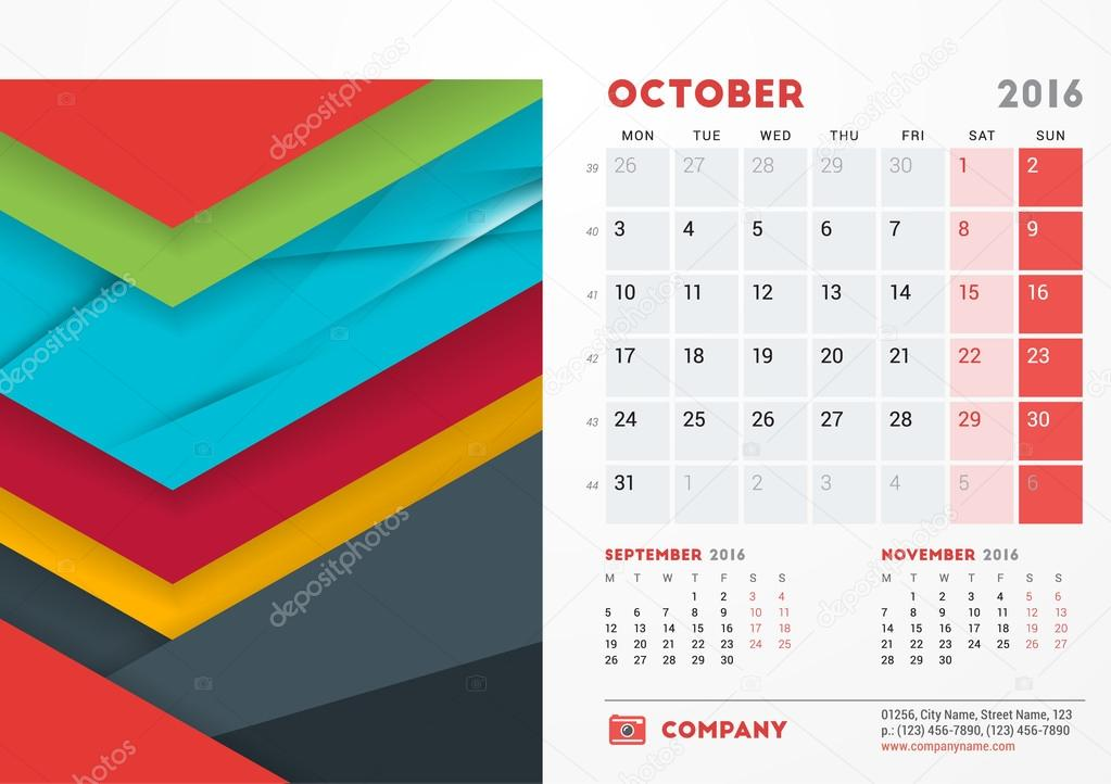 october 2016 desk calendar for 2016 year vector stationery design