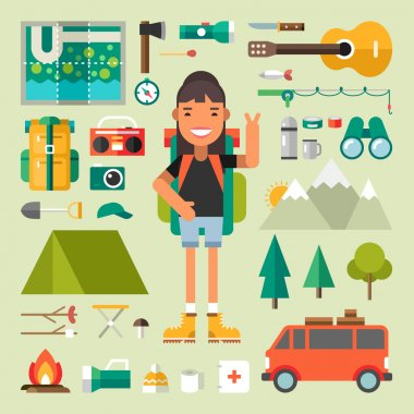 Set of Vector Icons and Illustrations in Flat Design Style. Female Cartoon Character Traveler Surrounded by Tourist Equipment