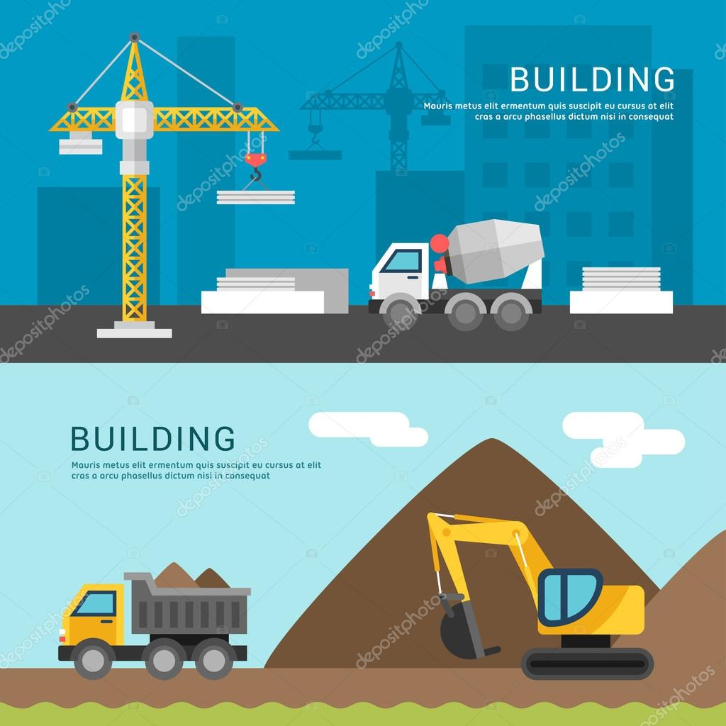 building concept crane and cement mixers dump truck and