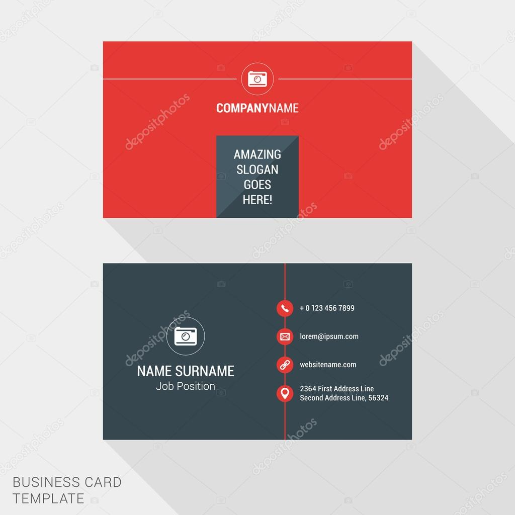 Modern creative and clean business card template in red color flat modern creative and clean business card template in red color flat style vector illustration reheart Images