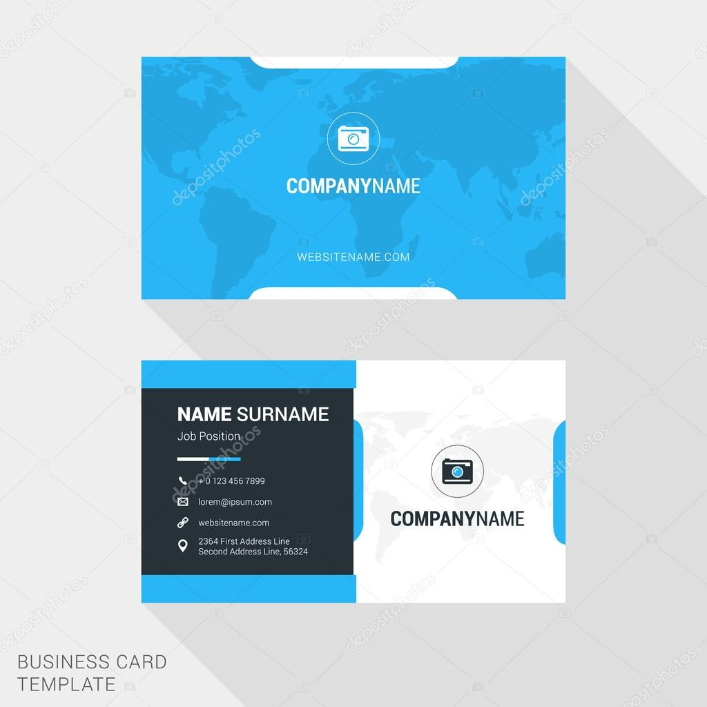 Modern creative and clean business card template in blue color with modern creative and clean business card template in blue color with world map flat style colourmoves