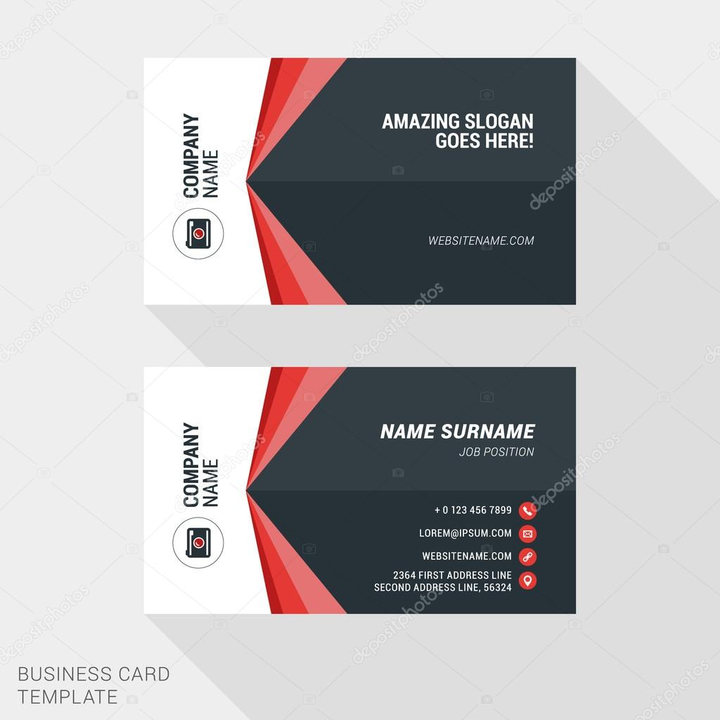 Creative and Clean Business Card Template in Red and Black Colors. Flat Style Vector Illustration