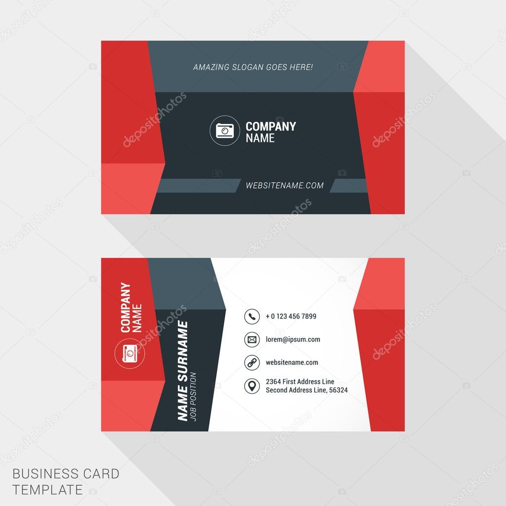 Creative and clean business card template in red and black colors creative and clean business card template in red and black colors flat style vector illustration reheart Images
