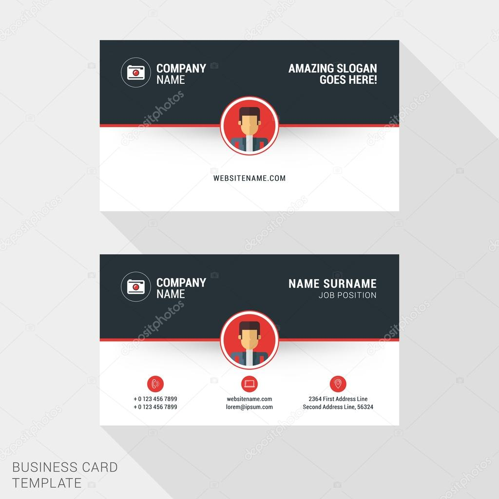 Creative and clean business card template in red and black colors creative and clean business card template in red and black colors with flat style avatar or reheart Image collections