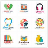 Set of Vector Coloful Logo Templates. Lab, Pin, Photographer, Headphones, Dentist, Juice, Bookstore, Photographer, Medicine