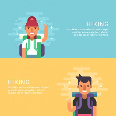 People Leisure Concept. Hiking. Male Cartoon Character Tourist. Flat Design Concepts for Web Banners and Promotional Materials