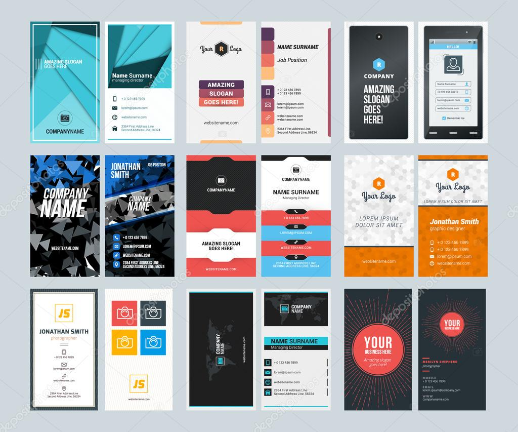 Set of creative vertical business card print templates flat style set of creative vertical business card print templates flat style vector illustration stationery design reheart Choice Image