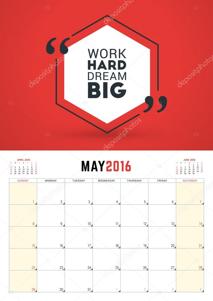 may 2016 wall calendar planner for 2016 year week starts sunday