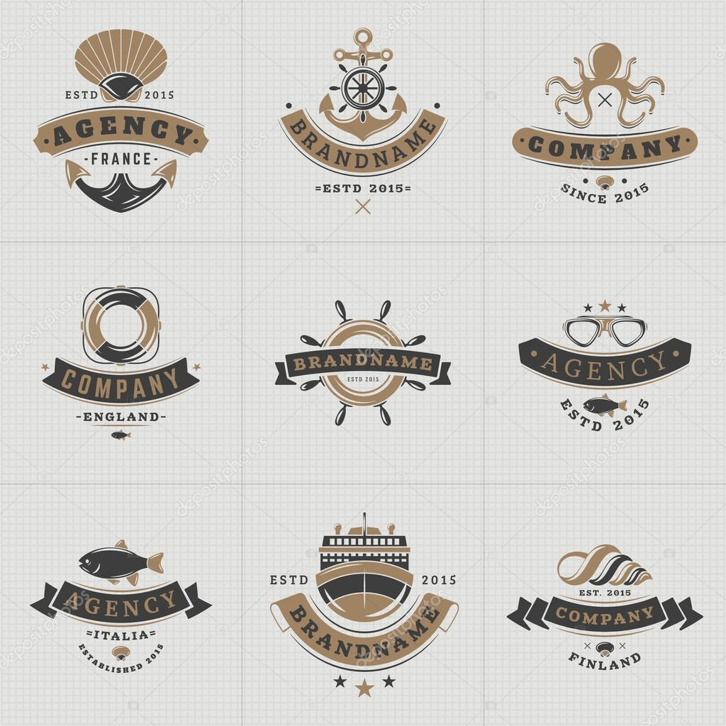 Set of hipster vintage labels logotypes badges for your for How to ship fish