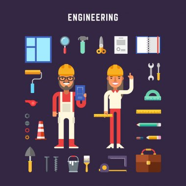Set of Vector Icons and Illustrations in Flat Design Style. Engineering Concept. Male and Female Cartoon Character Engineers Surrounded by Building Tools