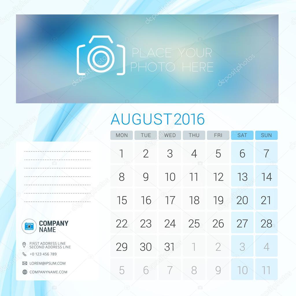 desk calendar for 2016 year august vector stationery design
