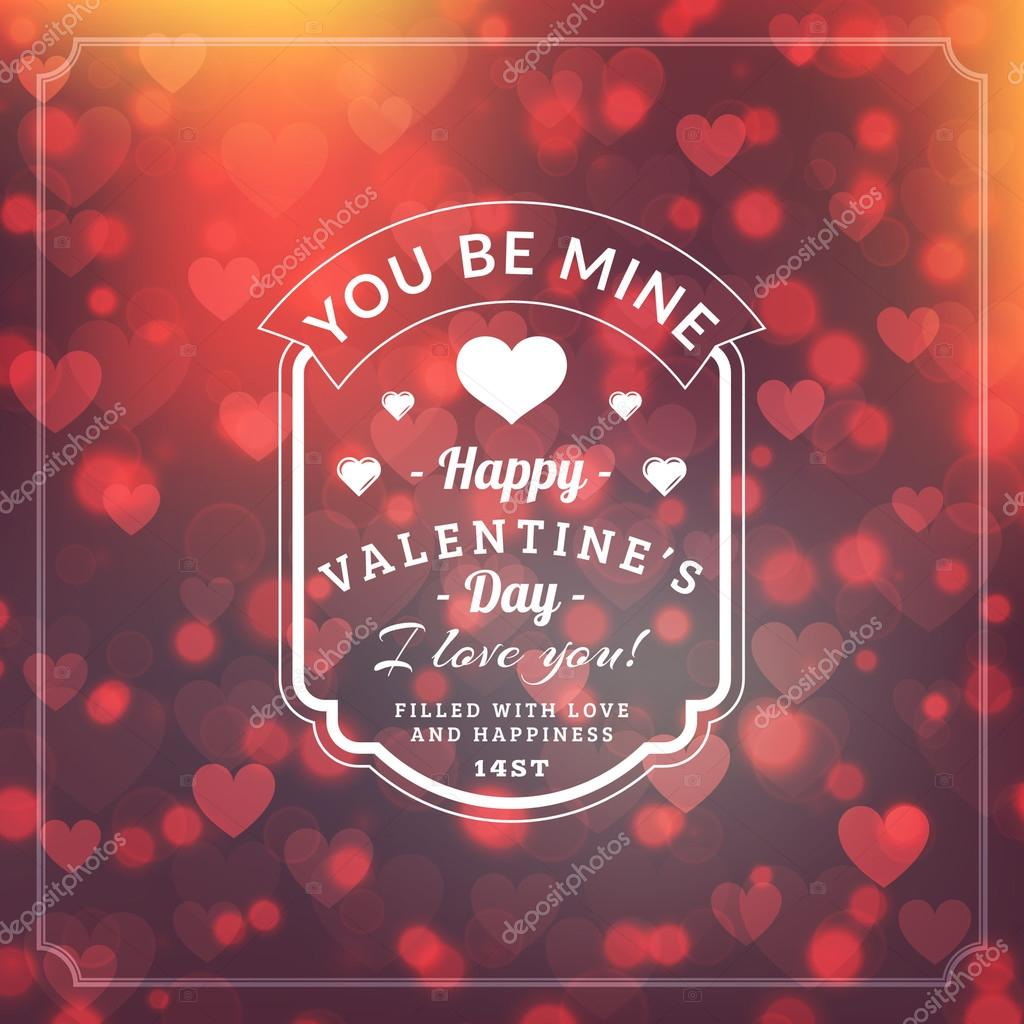 Valentines Day Greeting Card Background and Light Bokeh Hearts. Valentine Card, Valentine Label. Vector Illustration EPS 10