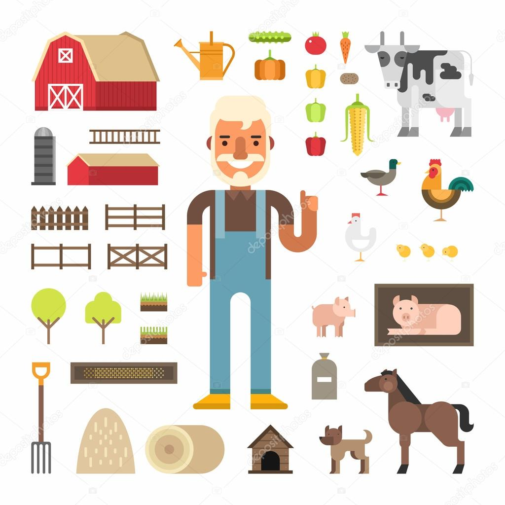 Set of Vector Icons and Illustrations in Flat Design Style. Profession Concept, Farmer. Male Cartoon Character Surrounded by Farms Elements and Farm Animals