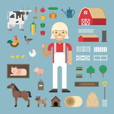 Set of Vector Icons and Illustrations in Flat Design Style. Profession Concept, Farmer. Female Cartoon Character Surrounded by Farms Elements and Farm Animals