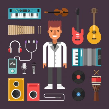 Set of Vector Icons and Illustrations in Flat Design Style. Profession Musician. Male Cartoon Character Surrounded by Musical Instruments