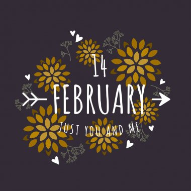 Decorative Floral Frame with Text - 14 February  - on Black Background. Vector Design Element for Valentines Day Greeting Card
